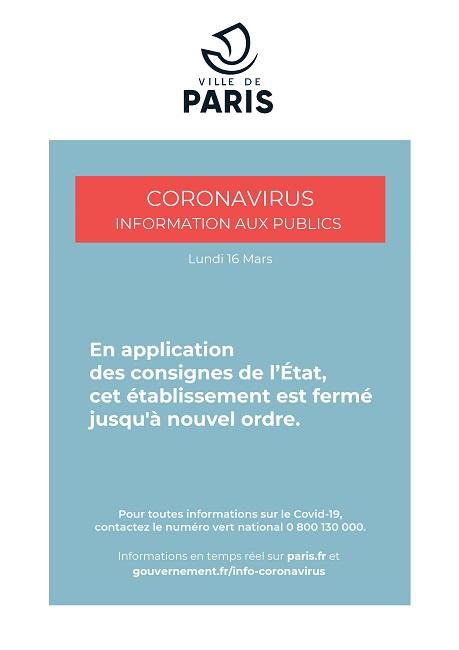 Coronavirus : fermeture du centre à partir du lundi 16 mars