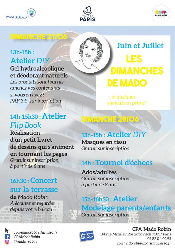 « Les dimanches de Mado » / Programme de Juin & Juillet