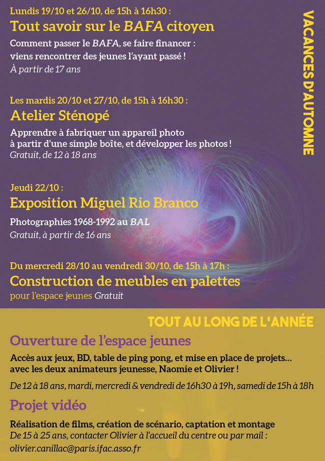 «Les rendez-vous jeunesse de Mado» / Programme d'Octobre