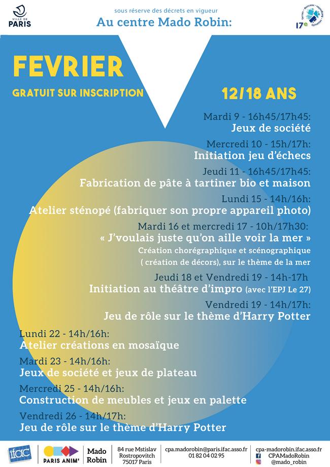 «Les rendez-vous jeunesse de Mado» / Programme de février
