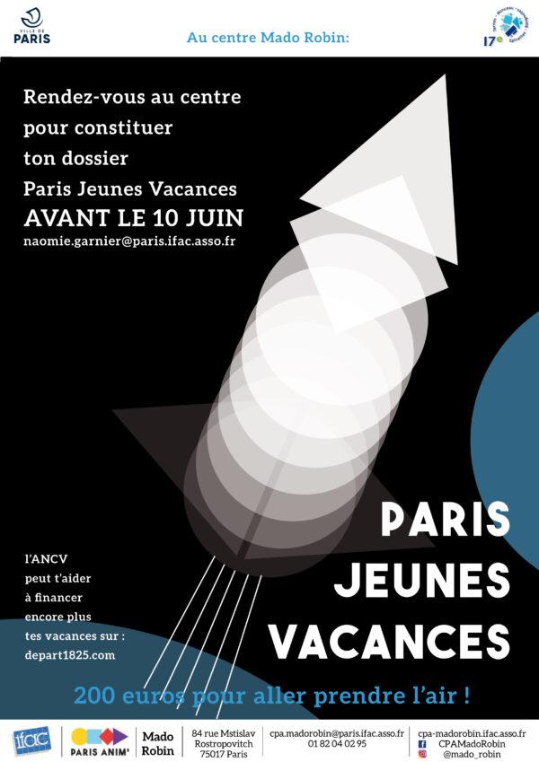 Viens constituer ton dossier «Paris Jeunes Vacances» au centre Mado Robin !