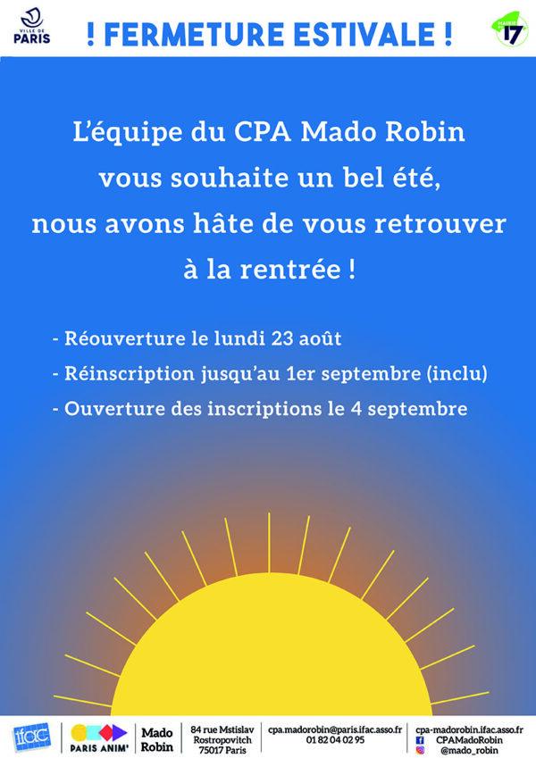Fermeture estivale de votre Centre Paris Anim'